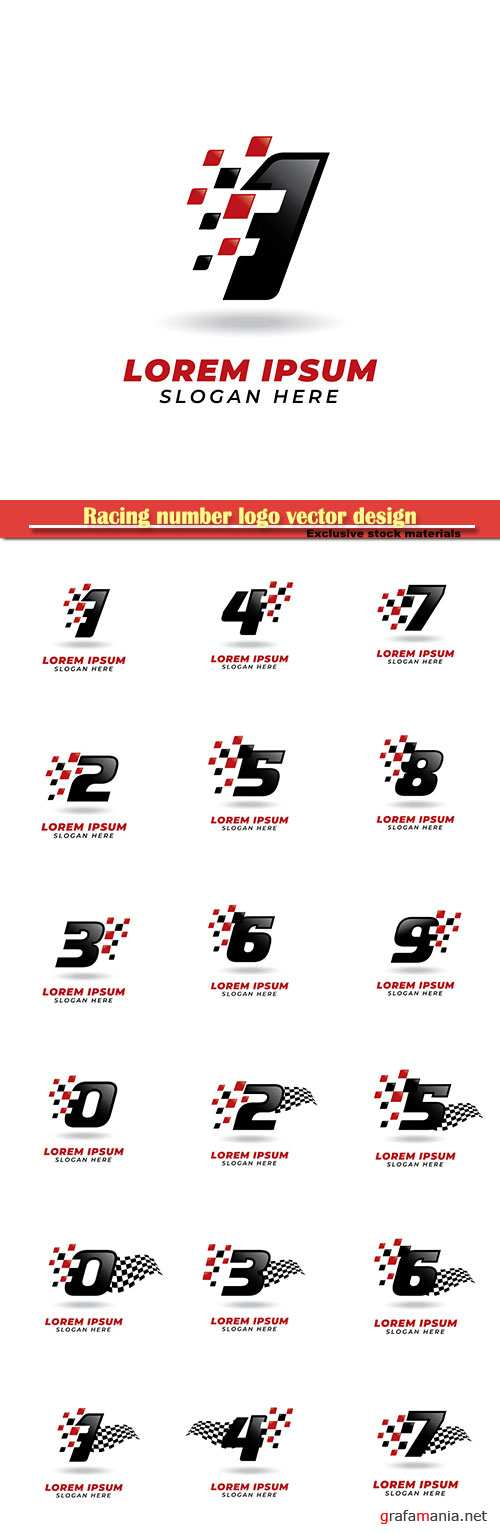 Racing number logo vector design