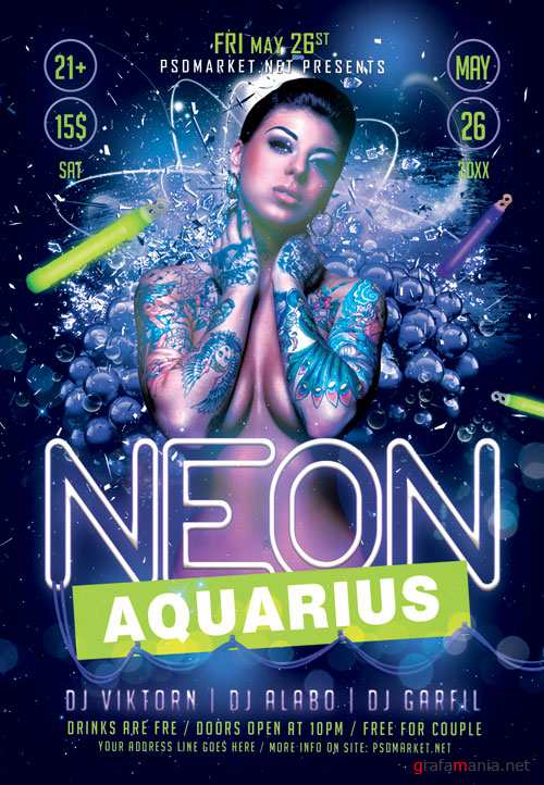 Neon aquarius - Premium flyer psd template