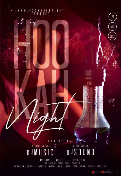 Hookah party night - Premium flyer psd template