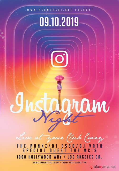 Instagram night flyer - Premium flyer psd template