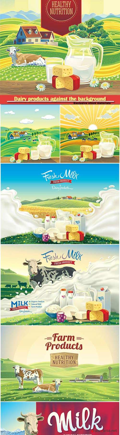 Dairy products against the background rural landscape with cow