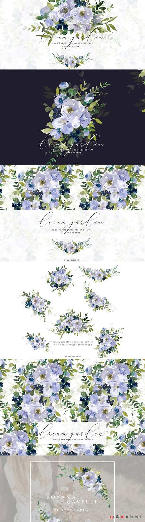 Watercolor Violet Floral Clipart Set - 3912522