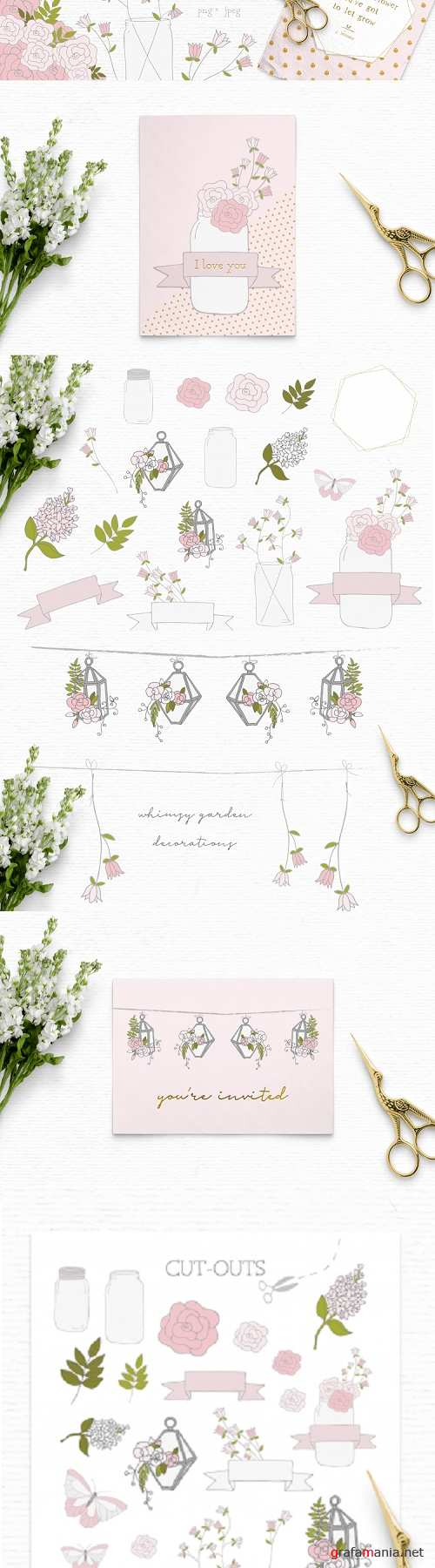 Summer clipart, floral clipart, whimsical clipart, wedding - 288889