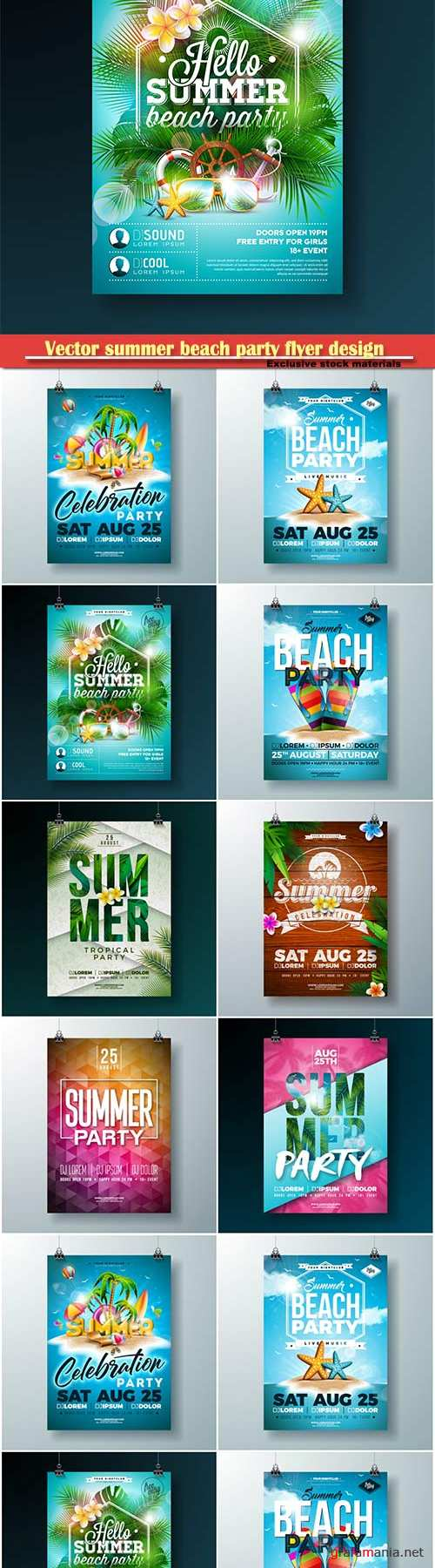 Vector summer beach party flyer design # 2