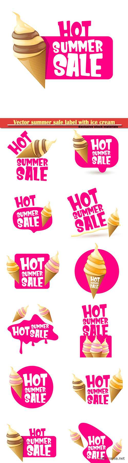 Vector summer sale label with melting ice cream