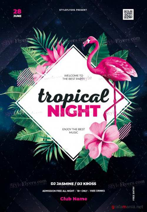 Tropical Night V30 2019 PSD Flyer Template