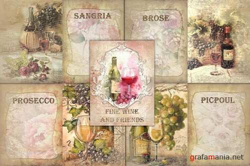 10 Wine Journaling backgrounds printable commercial use - 288716