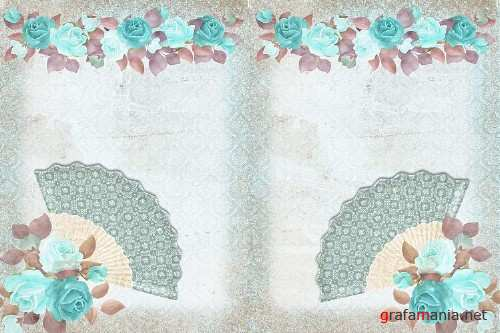Blue Lady Backgrounds with FREE Clipart and Ephemera - 301319