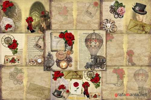 Steampunk Background set with FREE Clipart and Ephemera - 303061