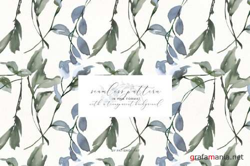 Watercolor Leafy Clipart Collection - 3989801