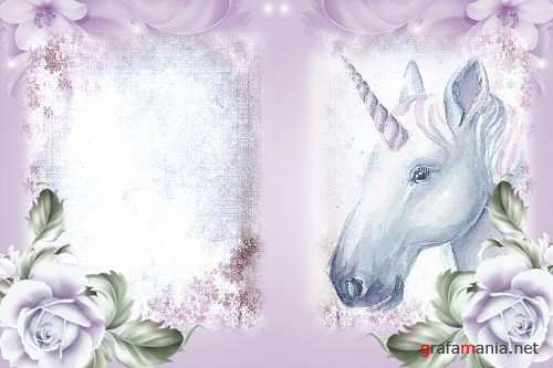 Unicorn journaling papers with free ephemera commercial use - 280983