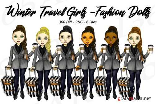 Winter Travel Clipart Girls, Fashion Doll Illustrations, PNG - 204445