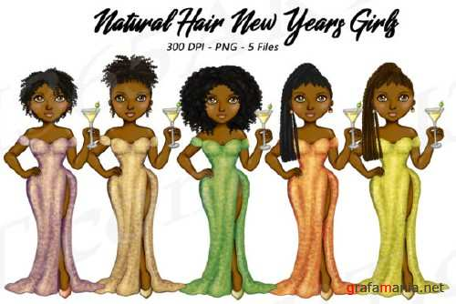 New Years Natural Hair Clipart, Fashion Girls Illustrations - 210406