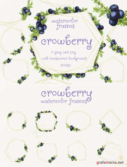 Watercolor Frames with Crowberry