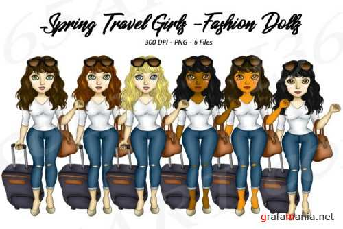 Spring Travel Clipart Girls, Fashion Doll Illustrations, PNG - 237858