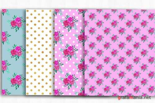 Floral Digital Paper, Shabby Chic - 3994305