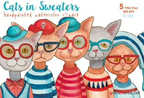 Cats in Sweaters Watercolor Clipart Set 696526