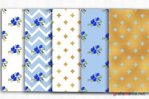 Blue Gold Digital Papers - 3994561