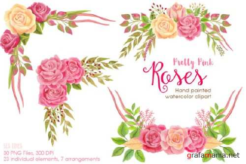 Pretty Pink Roses Watercolor Clipart 679276