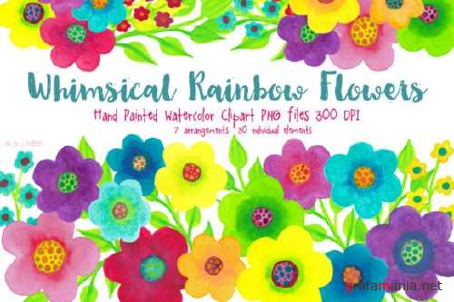 Rainbow Whimsy Flowers, Watercolor PNGs - Watercolor Rainbow Flowers 564070