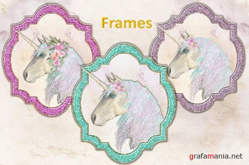 Unicorn Handpainted clipart, backgrounds and frames. PNG SVG - 304701