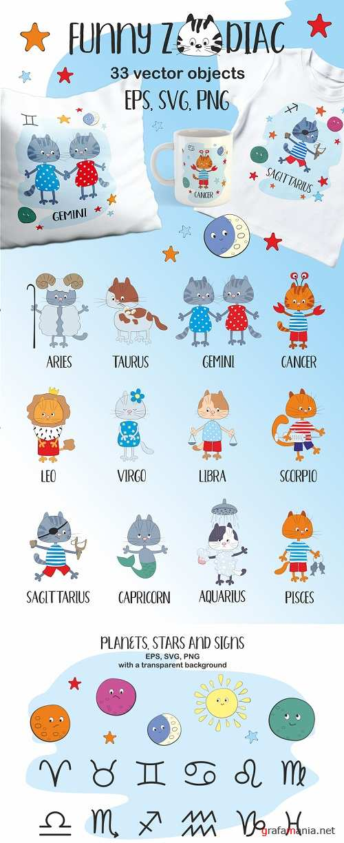 Funny Zodiac with cats. Vector cliparts - 305960