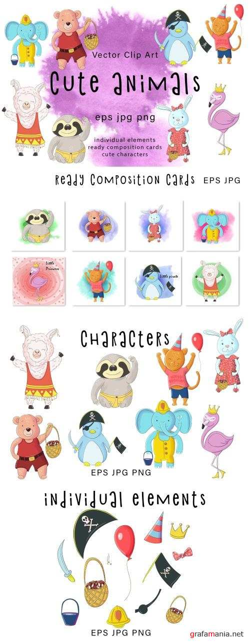 Cute Animals vector clip art - 4008077