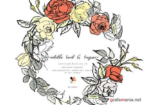 Hand-Sketched Floral Clipart Set - 4007829