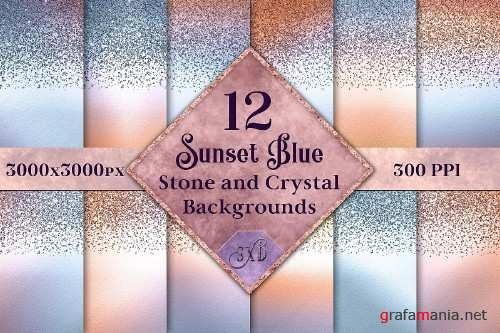Sunset Blue Stone and Crystal Backgrounds - 12 Images 303330