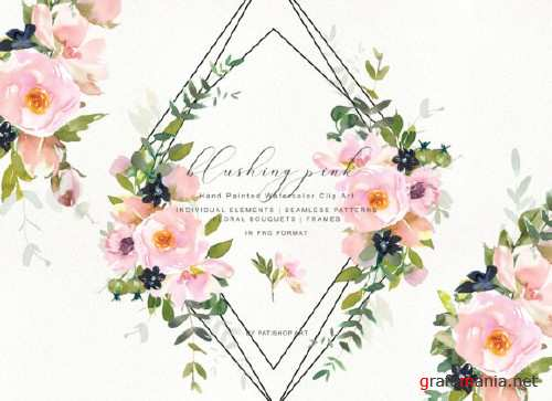 Romantic Blush Floral Clipart Set - 4007550