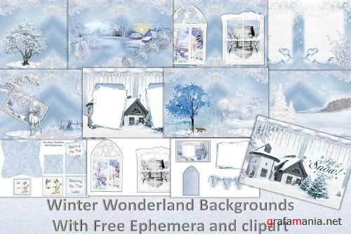 Winter Wonderland Backgrounds free clipart and ephemera - 306002