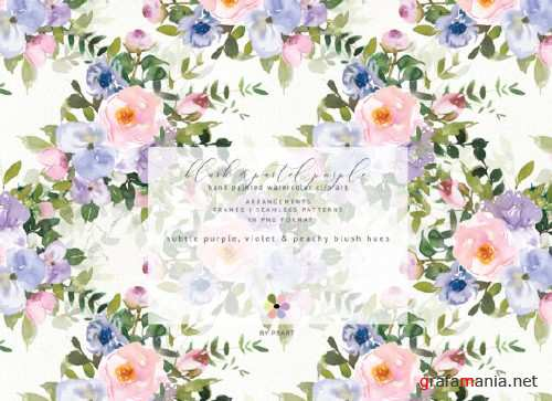 Watercolor Blush Purple Floral Clipart Collection - 305818