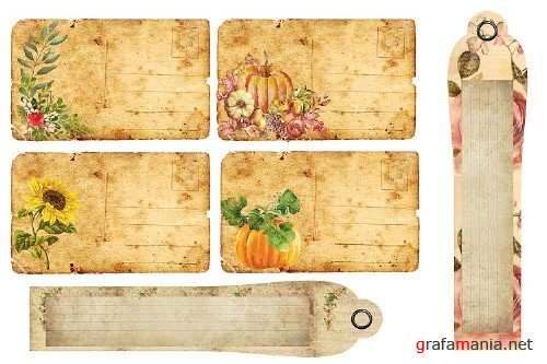 Fall Autumn Harvest Journaling kit with free ephemera CU - 305486