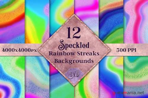 Speckled Rainbow Streaks Backgrounds - 12 Image Textures - 307157