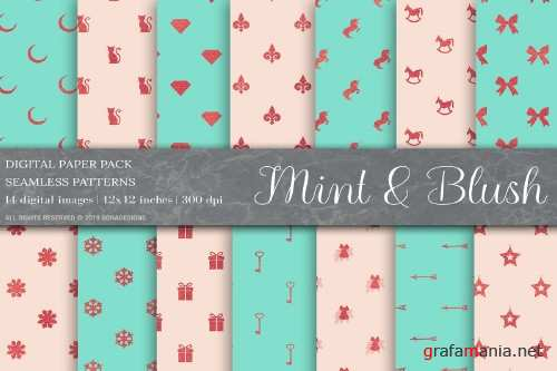 Rose Gold Mint Blush Digital Paper - 4009274