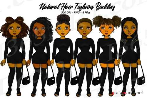 City Fashion Baddie Clipart, Black Girls, Natural Hair - 266460
