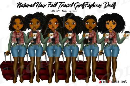 Fall Travel Clipart Girls, Natural Hair, Fashion Dolls - 298069
