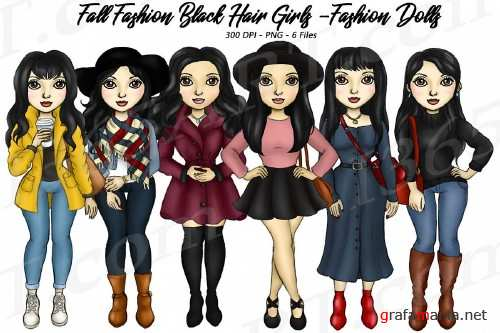 Fall Fashion Autumn Girls Black HairPlanner Clipart Set - 289323