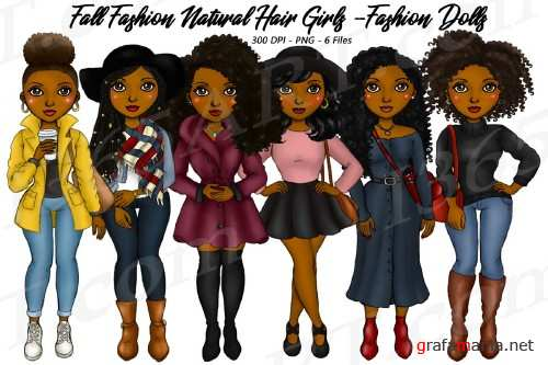 Fall Fashion Autumn Girls Natural Hair Planner Clipart Set 283414