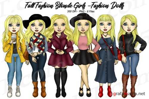 Fall Fashion Autumn Girls Blonde Planner Clipart Set - 283412