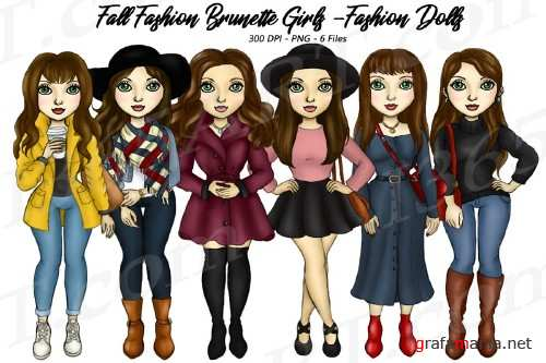 Fall Fashion Autumn Girls Brunette Planner Clipart Set 283411