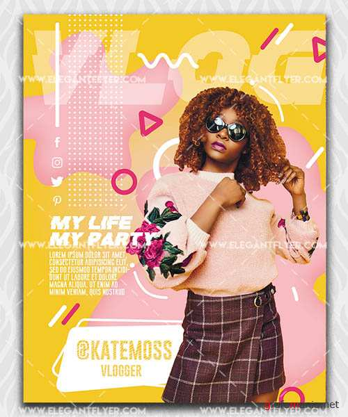 My personal VLOG V1208 2019 PSD Flyer Template