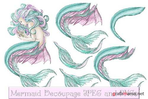 Mermaid clipart, Wall Art and decoupage sheet JPEG and PNG - 284249