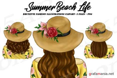 Summer Girl Fashion Portrait Brunette Hairstyles Clipart Set - 267878