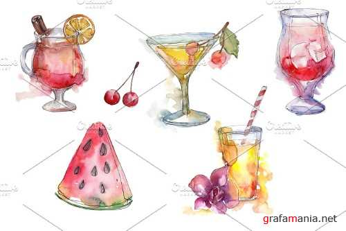 Cocktail fruit manito watercolor png - 4027504