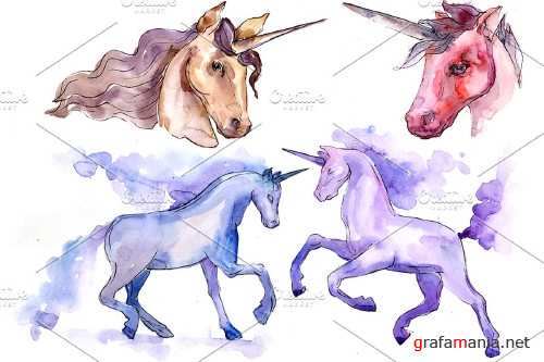 Classic unicorn image watercolor png - 4027353
