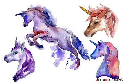 Unicorn animal world watercolor png - 4027323