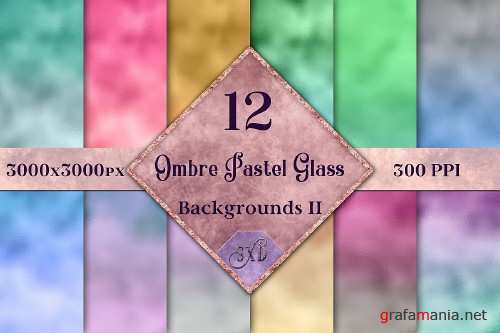 Ombre Pastel Glass Backgrounds II - 12 Image Textures Set - 310425