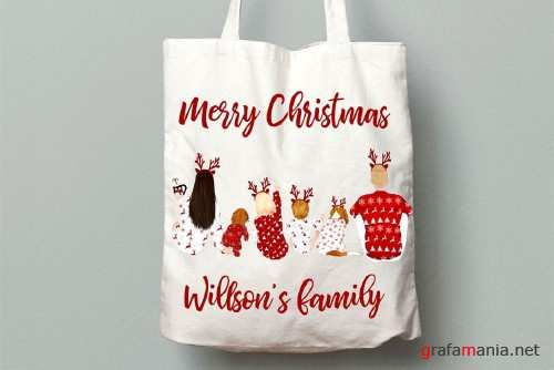 Christmas Family sitting clipart - 4023576