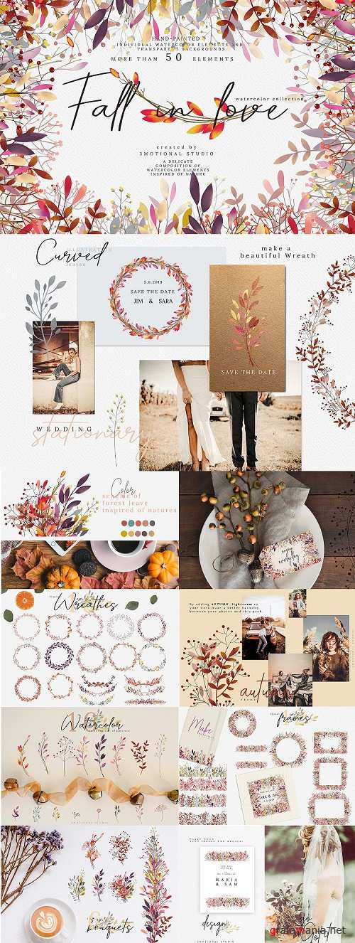 Fall in love watercolor collection high res png - 313594